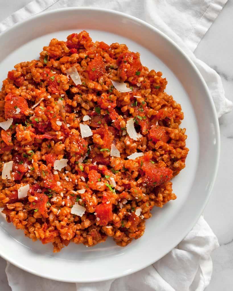 Baked Tomato Farro Risotto
