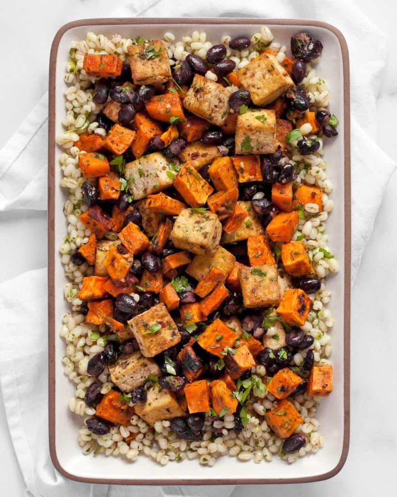 Sheet Pan Sweet Potato Black Bean Tofu