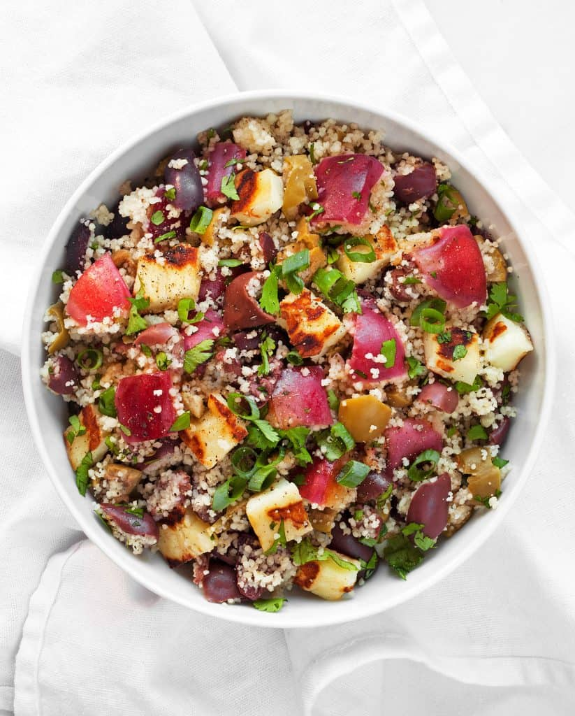Grilled Nectarine Halloumi Couscous