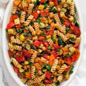 Roasted Vegetable Chickpea Pasta Salad
