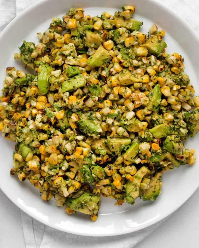 Grilled Corn and Avocado with Cilantro Pesto
