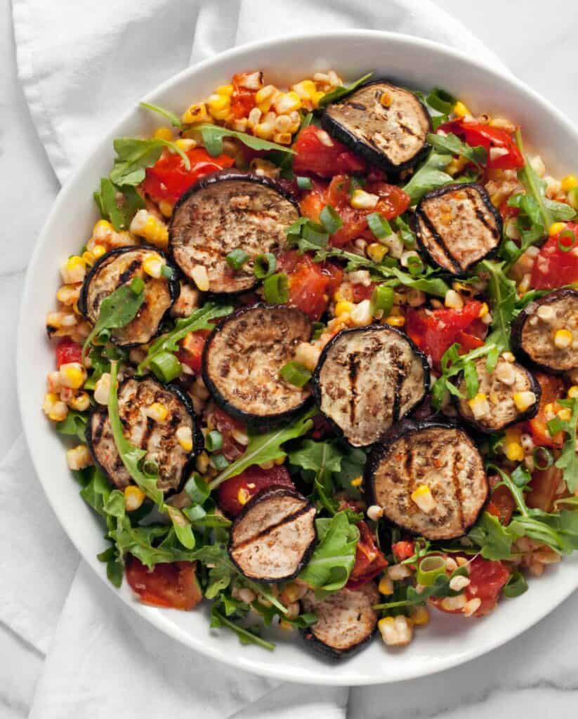 Grilled Eggplant Corn Tomatoes