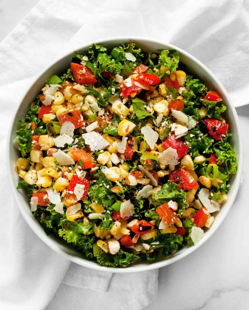 Grilled Corn Pepper Kale Chopped Salad