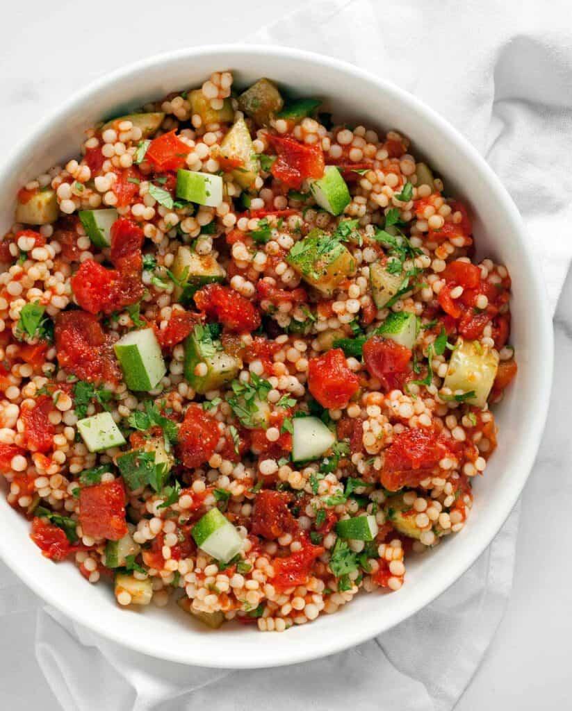 Harissa Roasted Tomato Cucumber Couscous