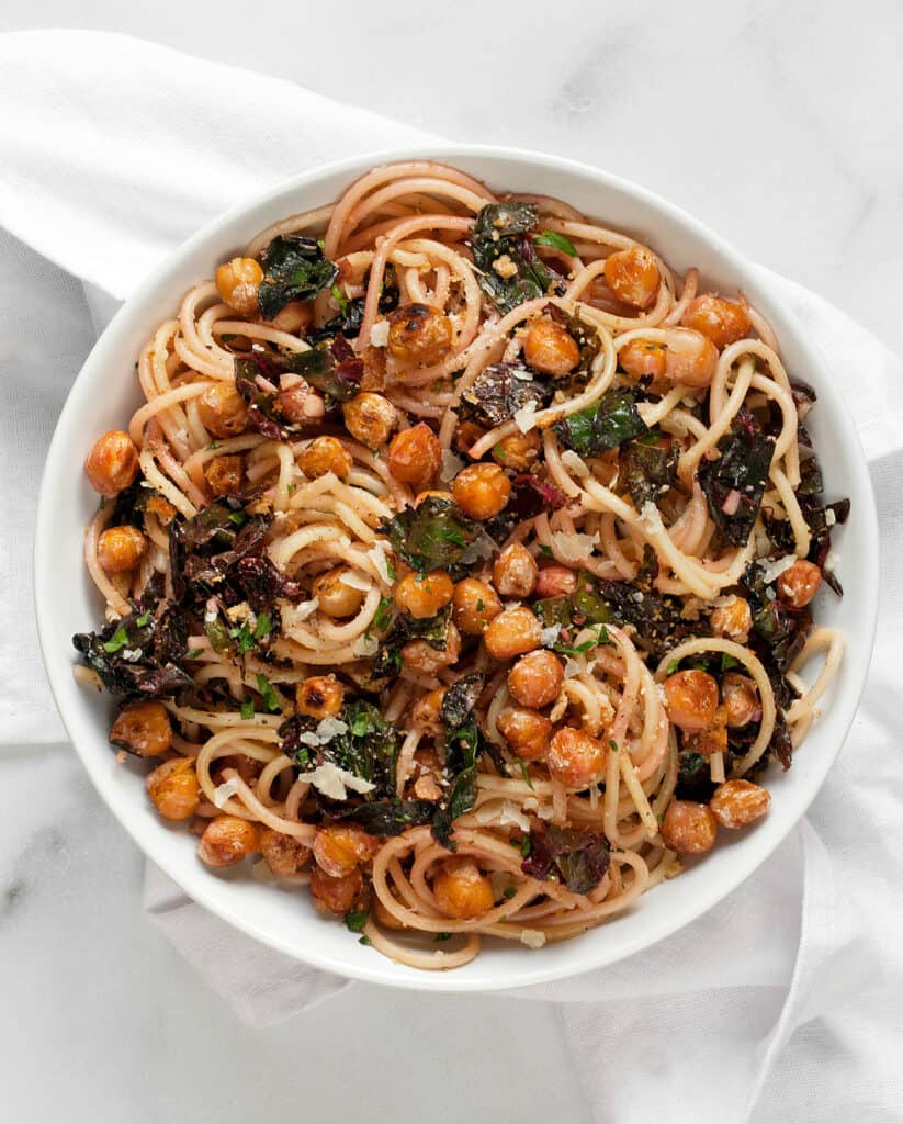 Pasta with Chickpeas and Swiss Chard