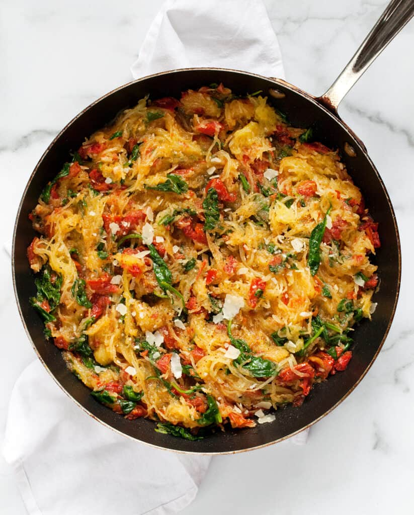 Roasted Tomato Spinach Spaghetti Squash