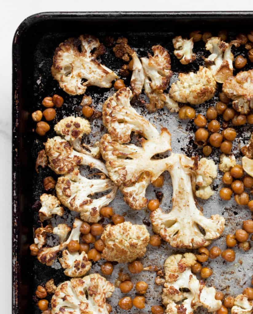 Roasted Cauliflower and Chickpeas with Herby Tahini