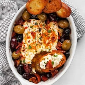 Baked Feta with Olives and Tomatoes