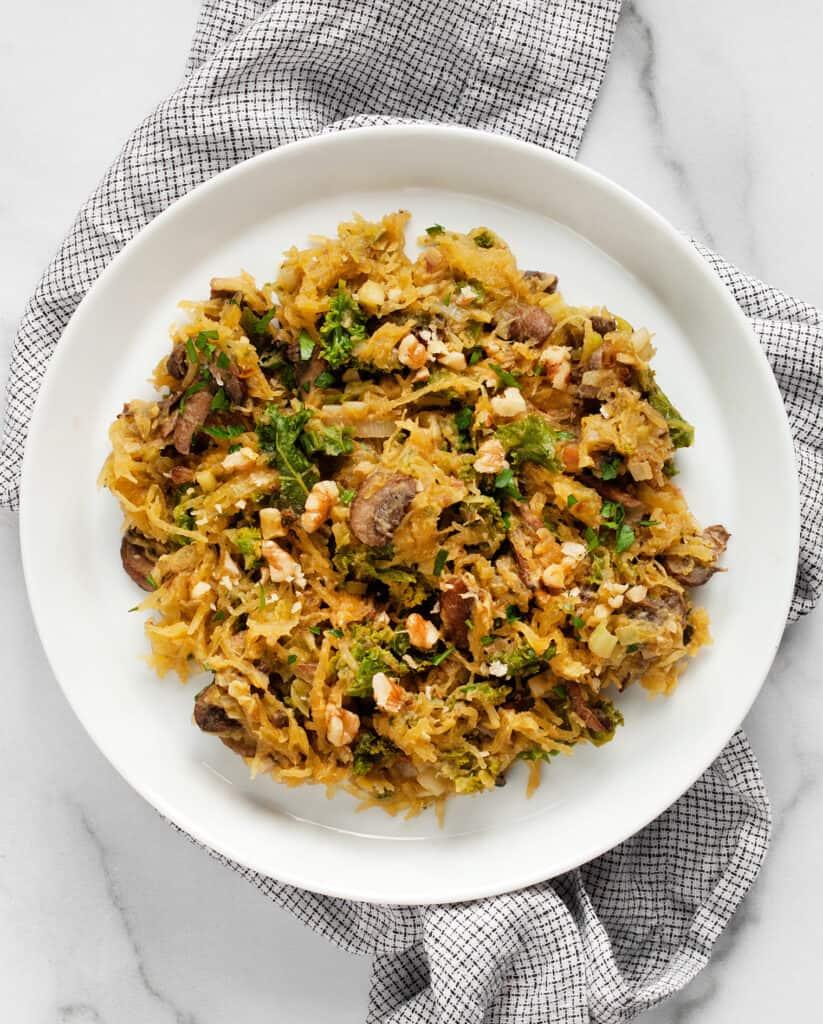Mushroom Leek Kale Spaghetti Squash