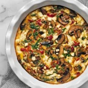 Mushroom Pepper Feta Crustless Quiche