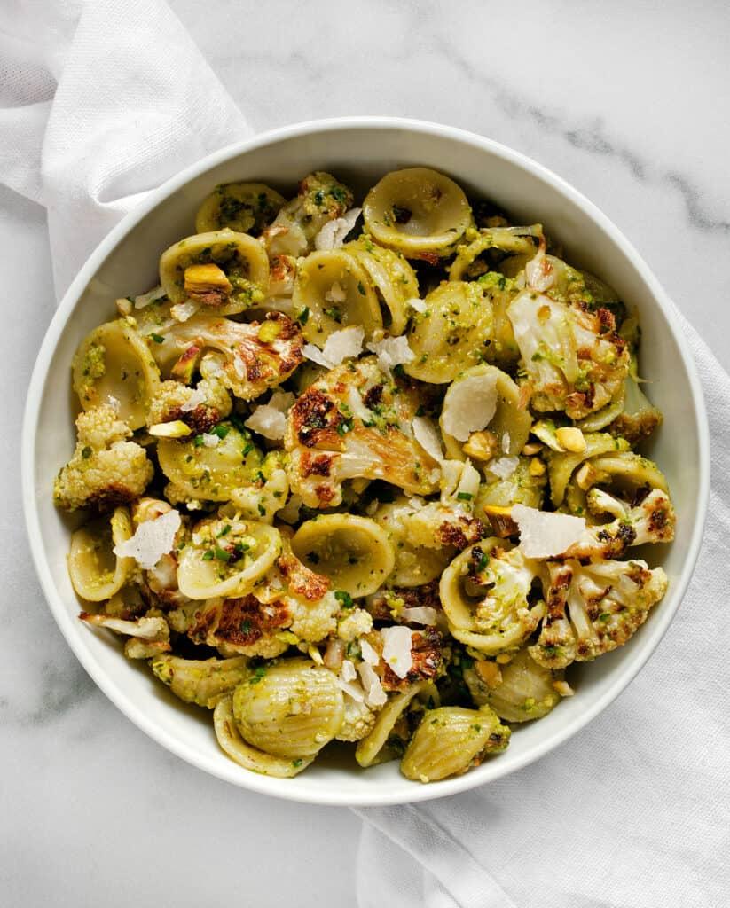 Roasted Cauliflower Spinach Pesto Pasta