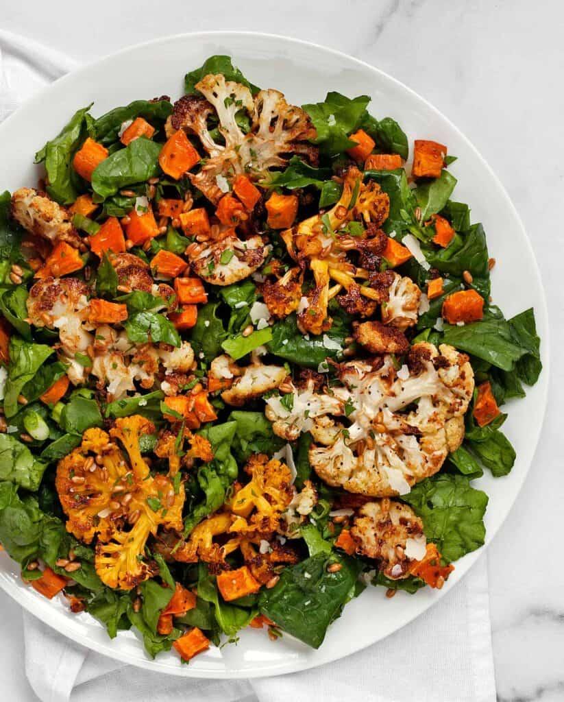Roasted Sweet Potato Cauliflower Salad