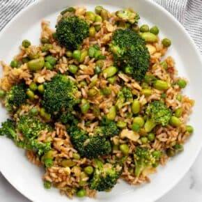 Broccoli Edamame Pea Fried Rice