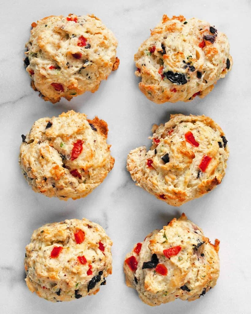 Red Pepper Olive Goat Cheese Biscuits