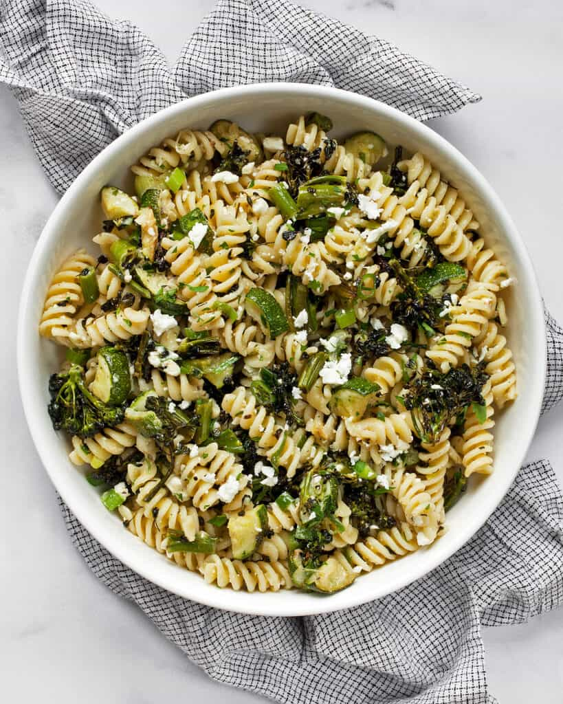 Roasted Broccolini Zucchini Pasta Salad