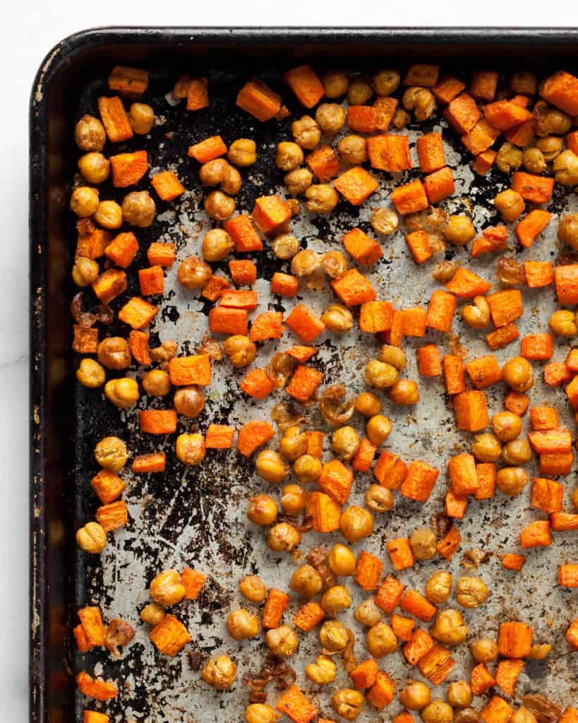 Roasted carrots and chickpeas