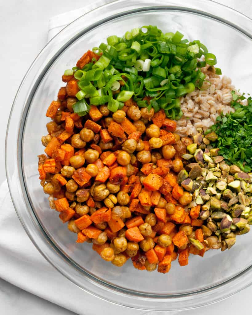 Roasted Carrot Chickpea Farro with Scallions and Pistachios