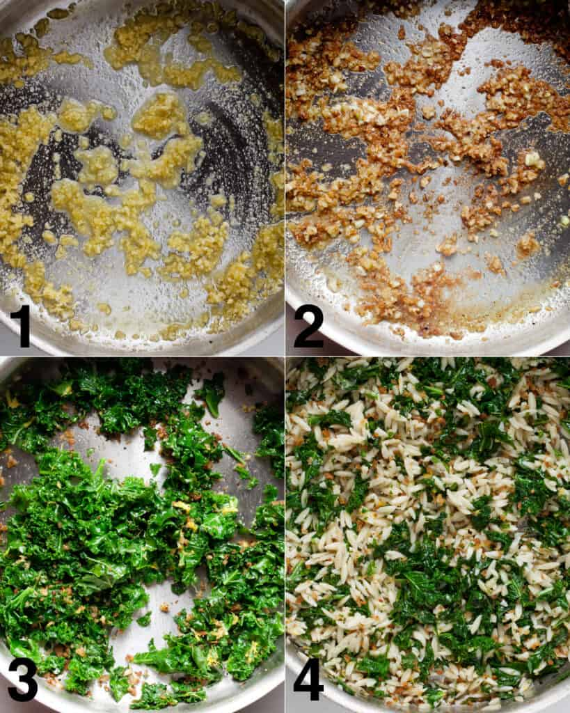 Cooking the breadcrumbs and kale