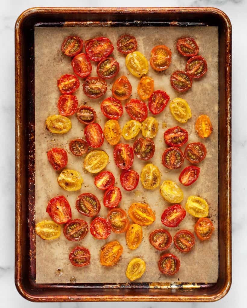 Roasted tomatoes on sheet pan