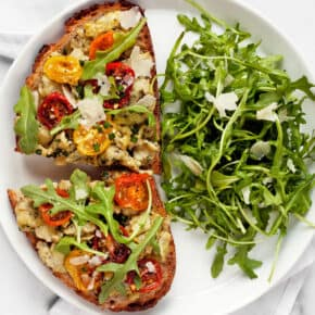 Pesto Eggs with Roasted Tomatoes with a salad