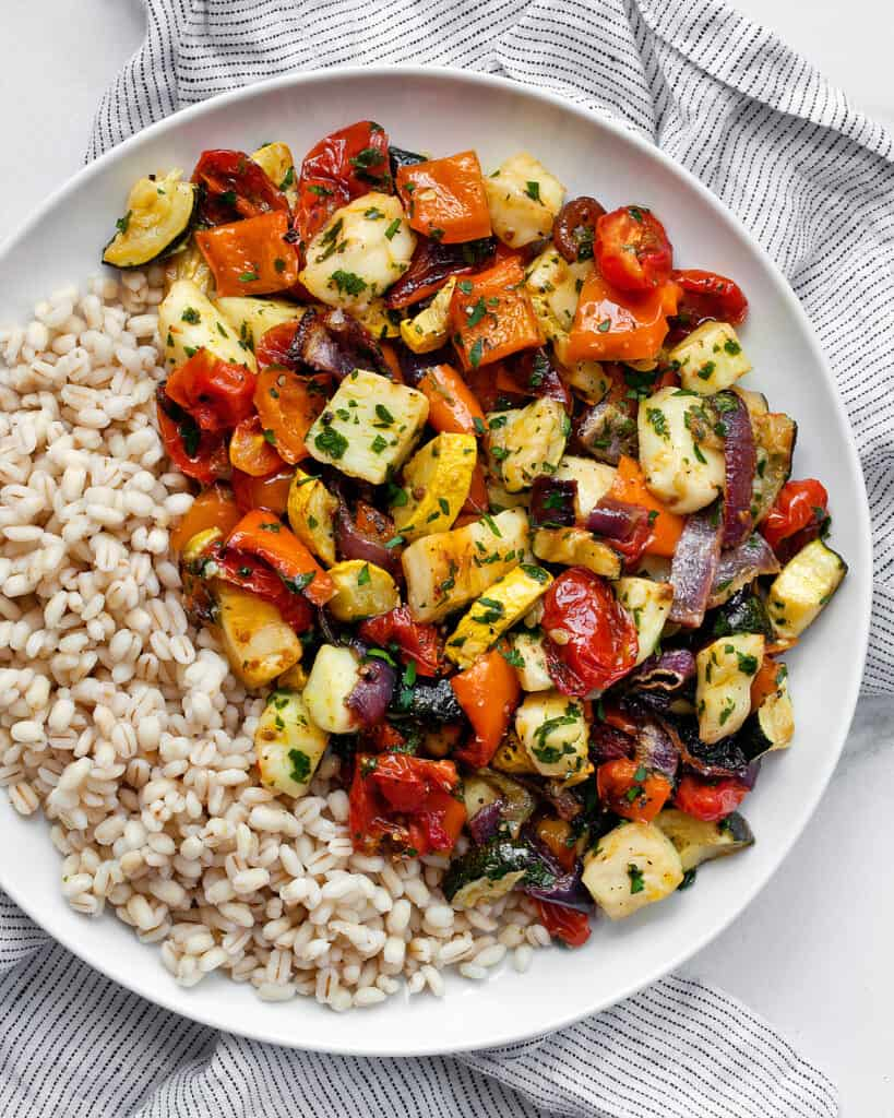 Roasted Mediterranean Vegetables and Halloumi with Barley