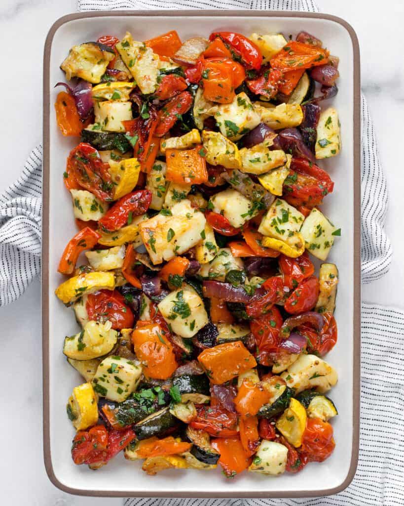 Roasted Mediterranean Vegetables and Halloumi