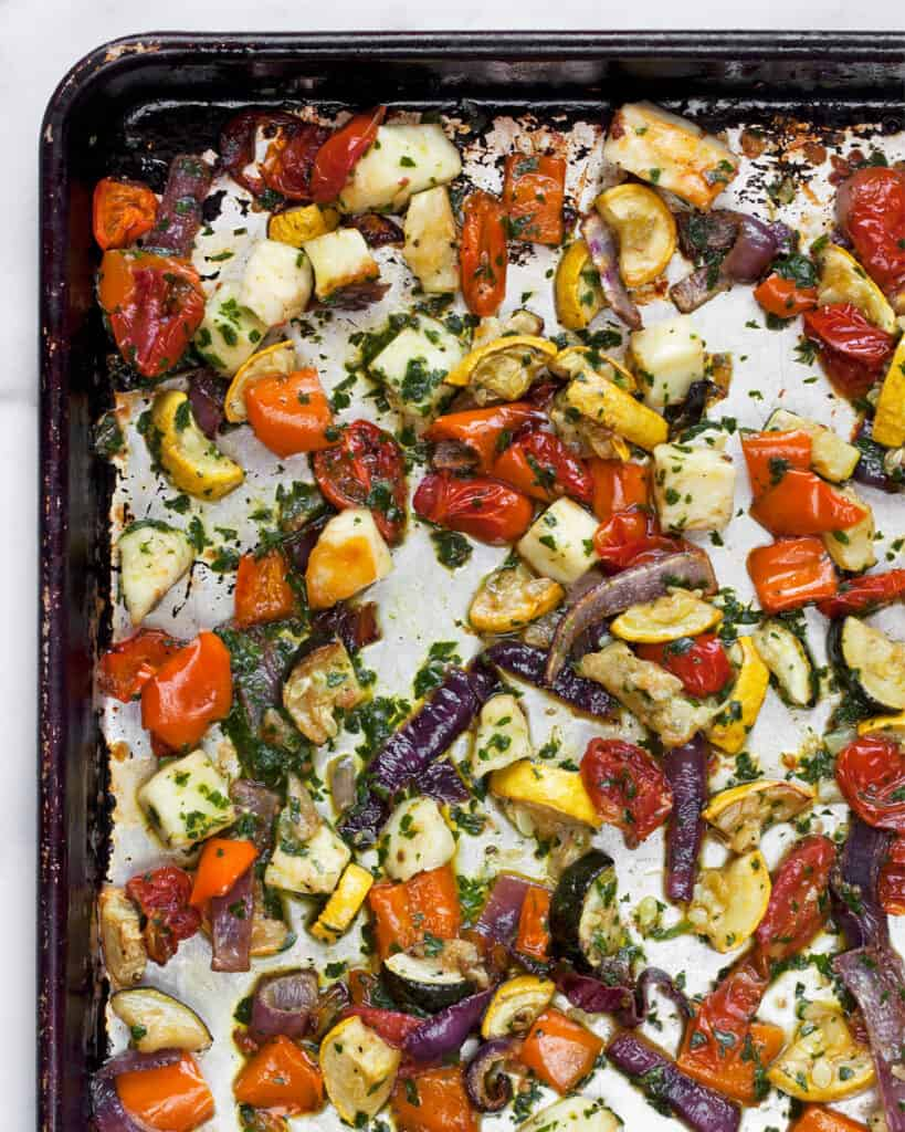 Roasted Mediterranean Vegetables and Halloumi on a Sheet Pan