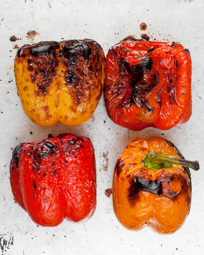 Broiled peppers on a sheet pan