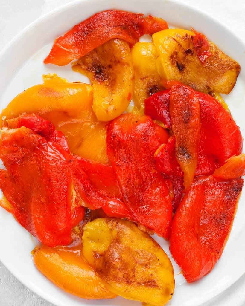Peeled roasted peppers
