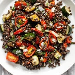 Roasted Zucchini Tomato Lentil Salad