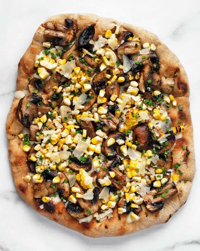 Grilled Mushroom Corn Pizza