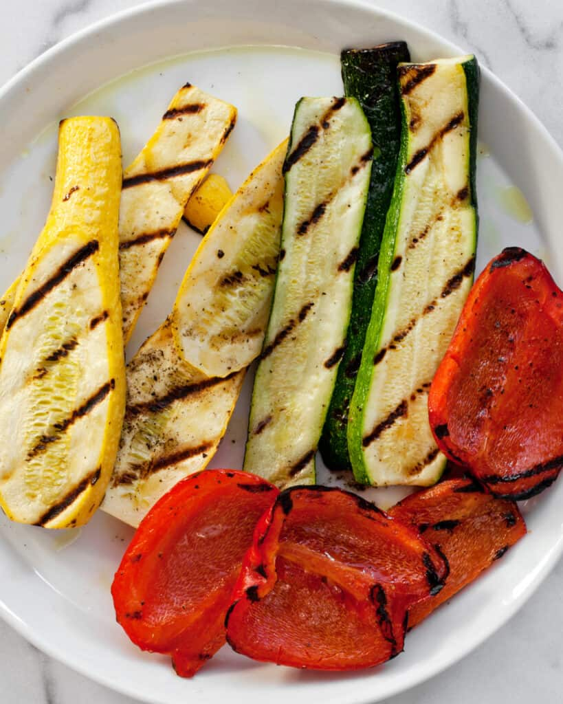 Grilled zucchini, squash and peppers