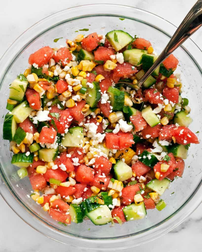 Combine the watermelon salad ingredients