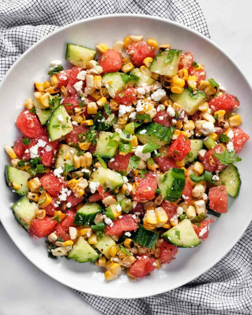 Watermelon Cucumber Corn Salad