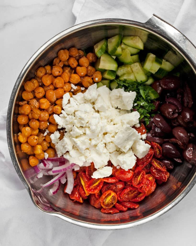 Ingredients for chickpea Greek salad