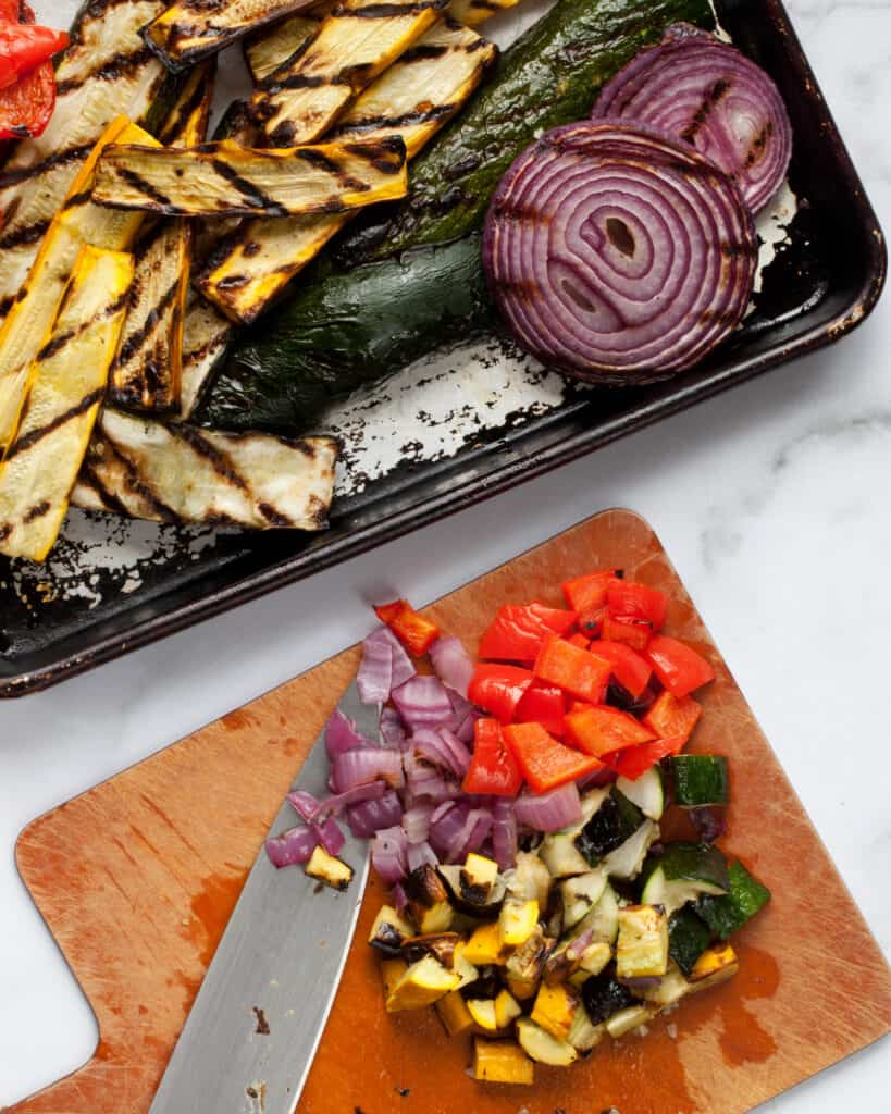 Dicing grilled vegetables