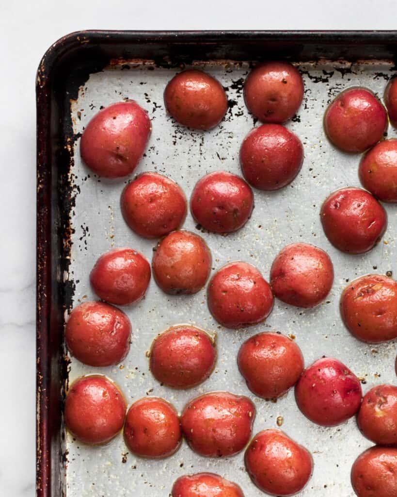 Red potatoes on sheet pan