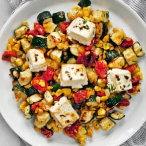Sheet Pan Baked Feta With Vegetables