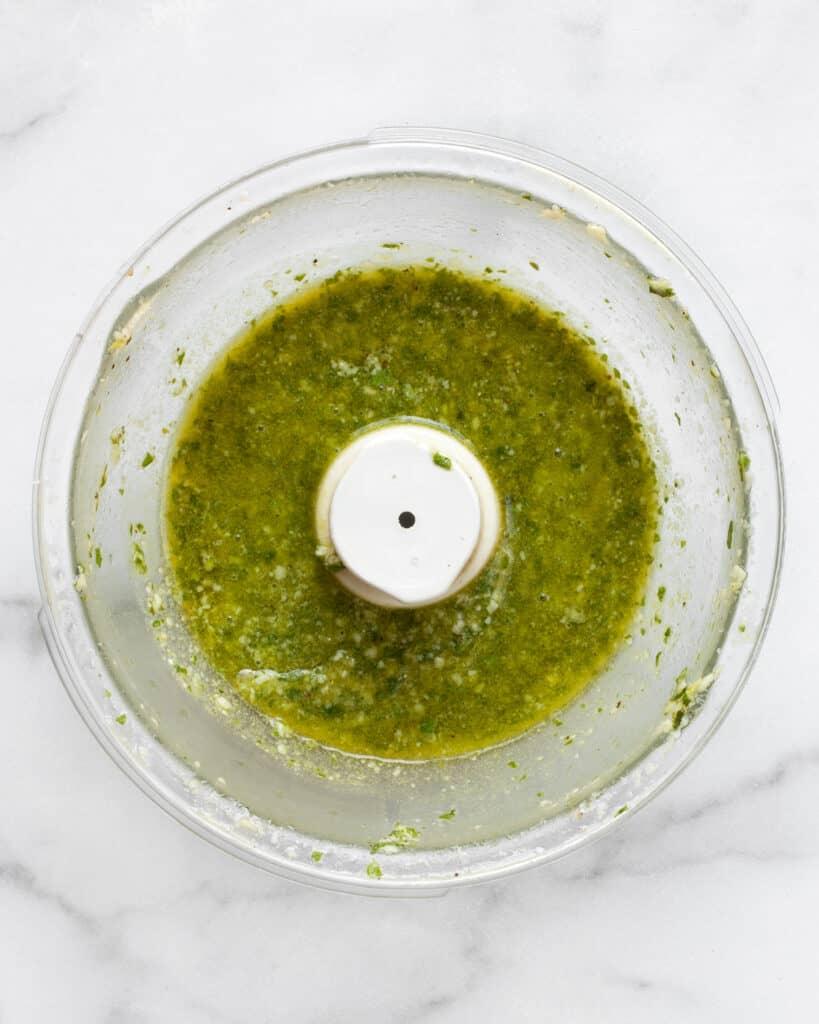 Basil pesto in a bowl
