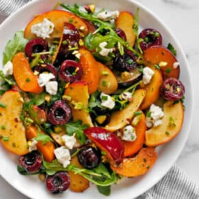 Stone Fruit Salad with Gorgonzola and Pesto Vinaigrette