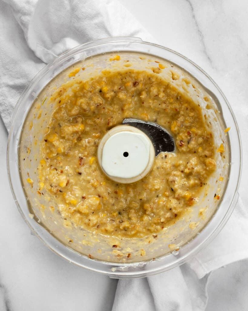 Sweet corn pesto in a bowl