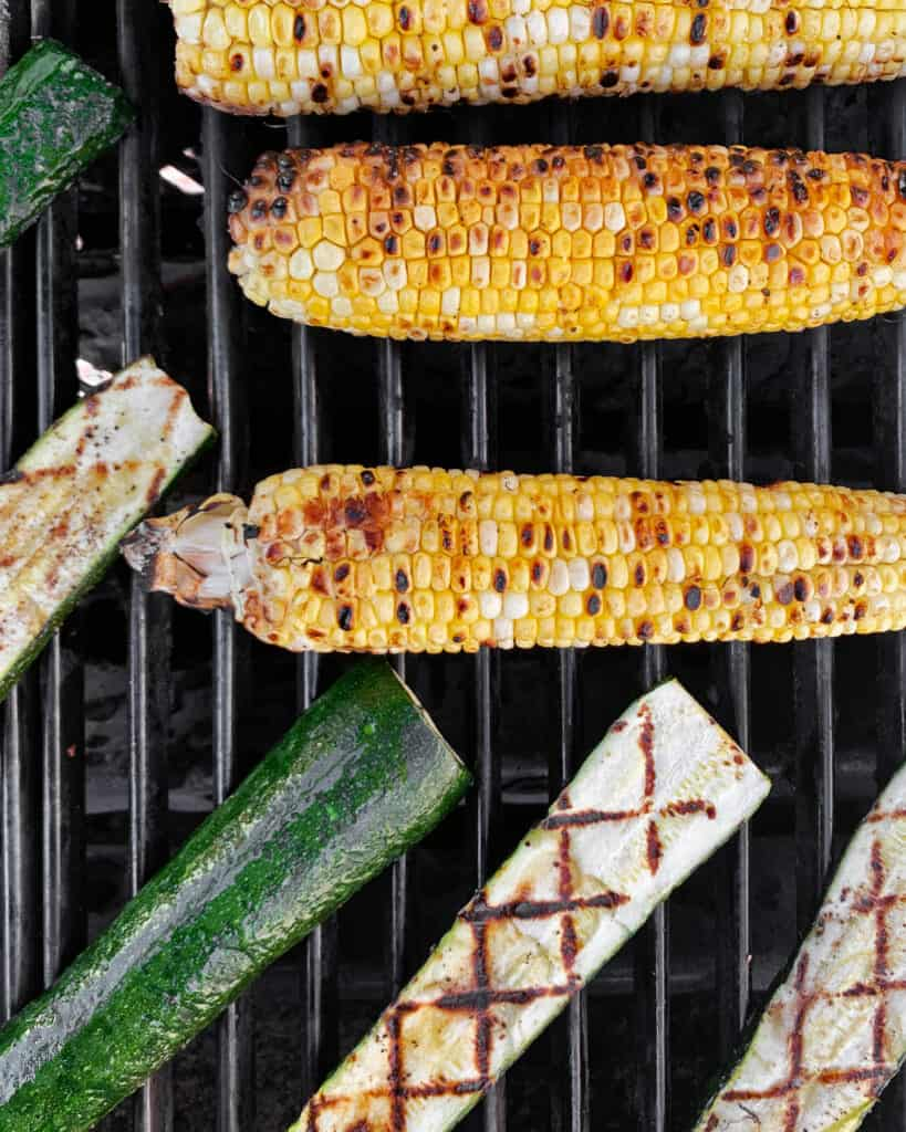 Corn and zucchini on the grill