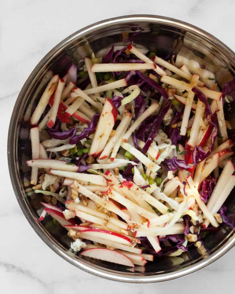 Bowl with apples, cabbage, scallions, walnuts and blue cheese