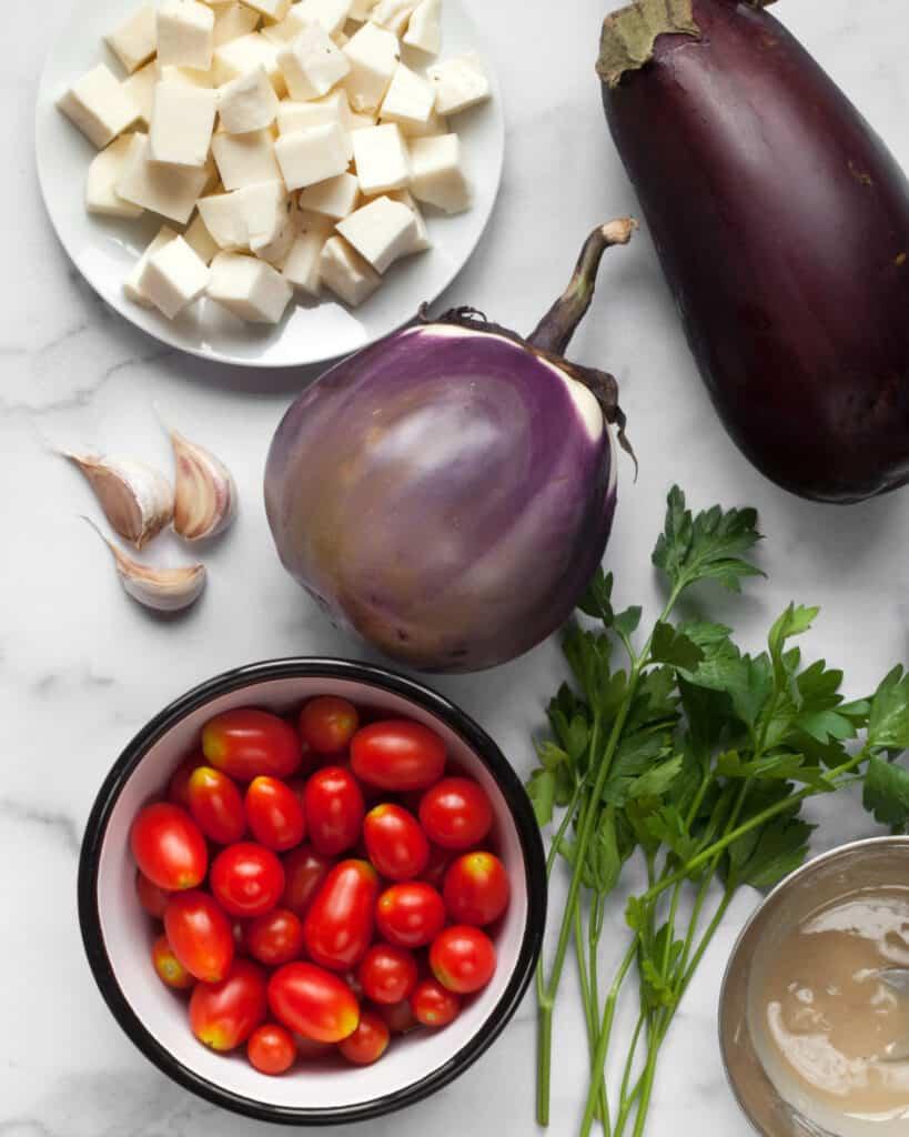 Eggplatn Tomato halloumi recipe ingredients