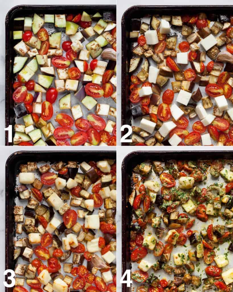 How to make roasted eggplant tomato halloumi