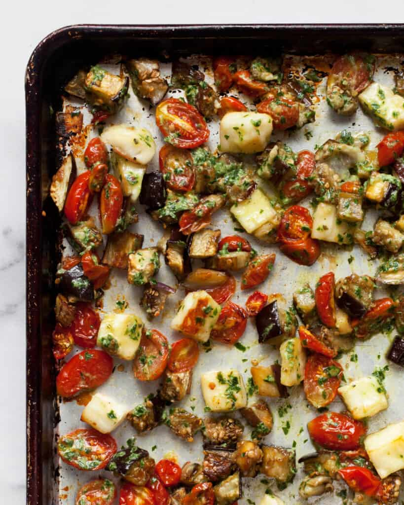 Sheet Pan Roasted Eggplant and Tomatoes with Halloumi