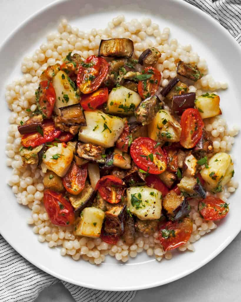 Roasted Eggplant and Tomatoes with Halloumi
