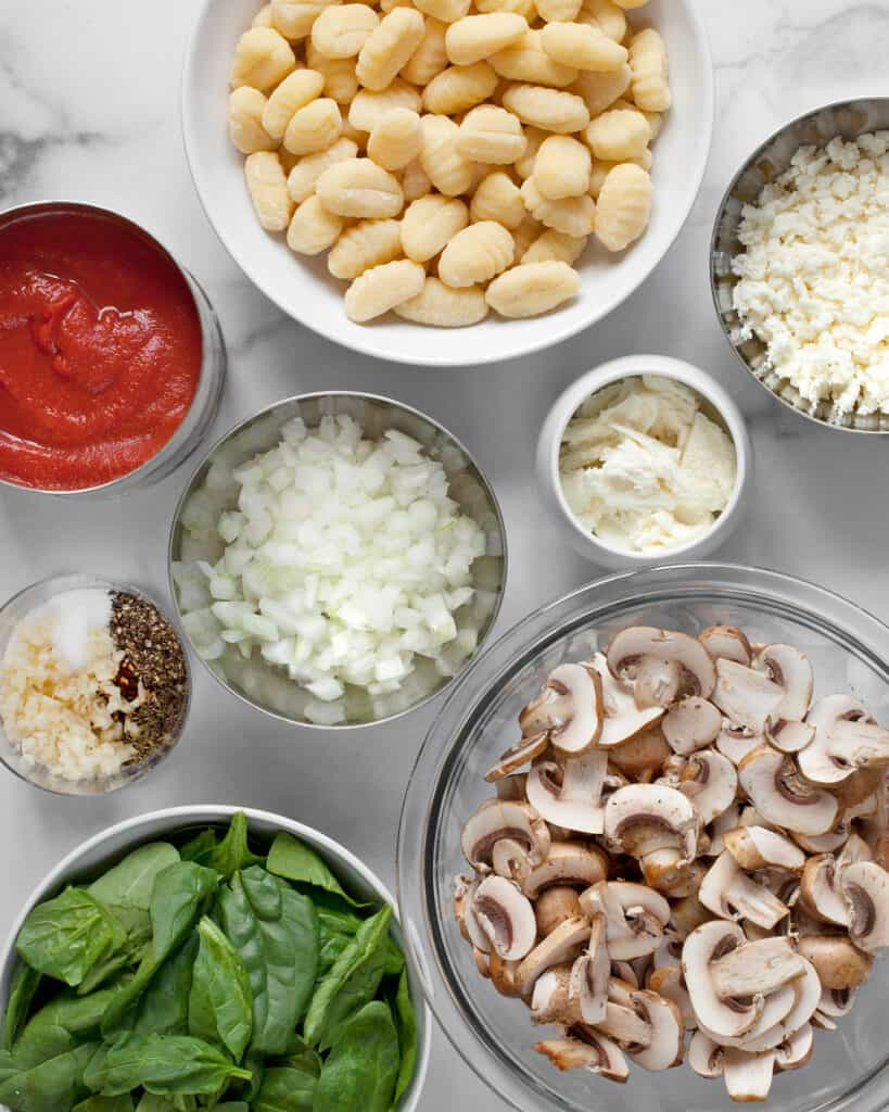 Store Bought Gnocchi, sliced mushrooms, spinach and other ingredients