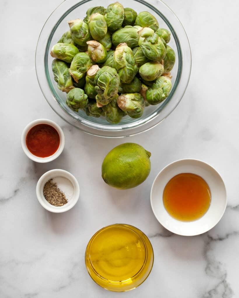 Brussels sprouts, lime, honey. oil sriracha and other ingredients